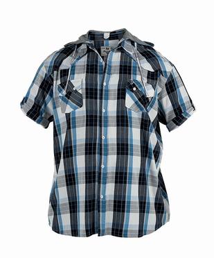 D555 overhemd RICO korte mouw en hoody, geruit