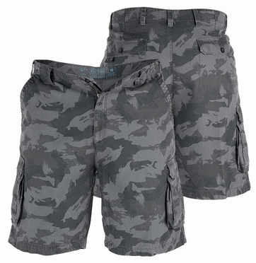 Cargo shorts 'PALM', camouflage grijs