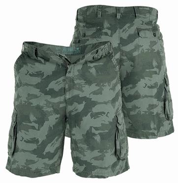 Cargo shorts 'PALM', camouflage groen