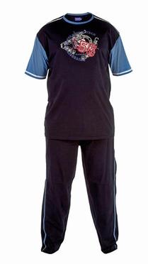 Pyjama GENOA korte mouw, zwart/blauw