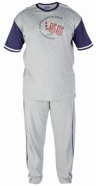 Pyjama GENOA korte mouw, grijs/navy
