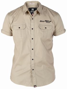 Shirt TORK stretch m. drukknopen, sand