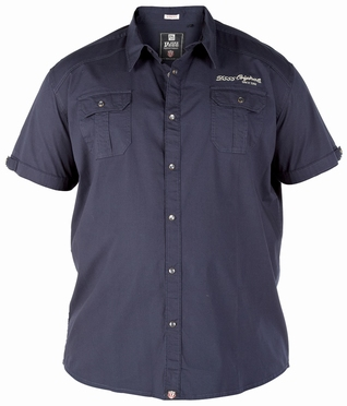 Shirt TORK stretch m. drukknopen, navy