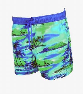 Zwemshort 'Blue Island', cobalt/groen