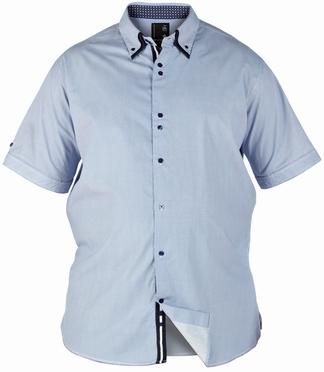 D555 overhemd COOPER contrast boord, blauw fijn streepje