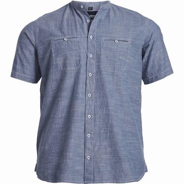 North 56°4 Chambray shirt m. China boord, blauw