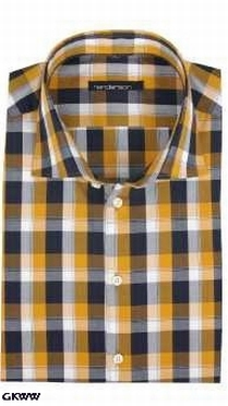 Overhemd lange mouw, geblokt zwart-wit-oker