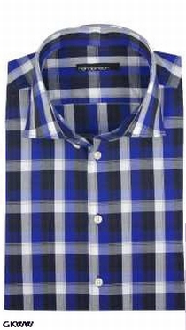 Overhemd lange mouw, geblokt zwart-wit-blauw