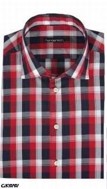 Overhemd lange mouw, geblokt zwart-wit-rood