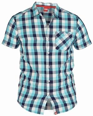 D555 overhemd REVOLUTION korte mouw. geblokt turquoise