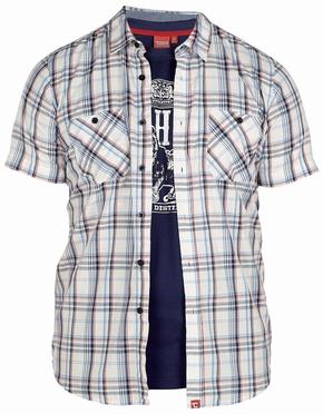 Shirt AVANT met T-shirt (set), wit geruit-navy