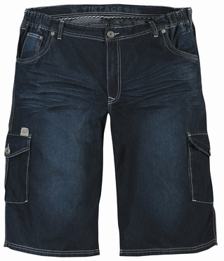 Denim shorts m. elastisch boord, washed blue