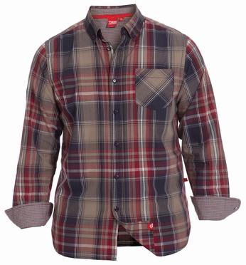 Shirt PUNTO lange mouw, geblokt sand/bruin/rood