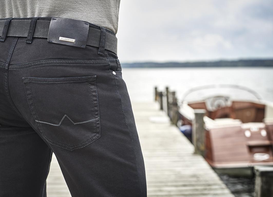Alberto 5-pocket Regular Slim Fit Pipe, d.grijs