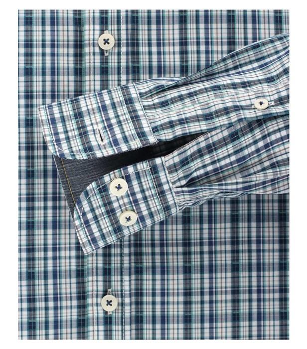 Casa Moda Casual Fit overhemd LM stretch, blauw karo