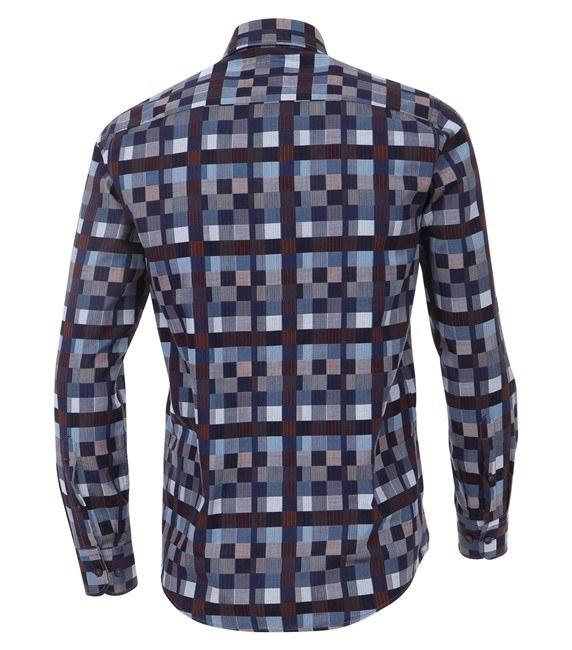 Casa Moda Club Edition overhemd lange mouw, geblokt navy