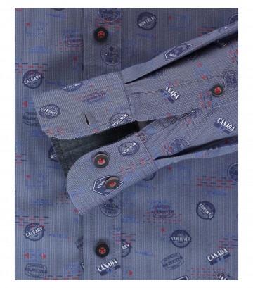 Casa Moda Comfort Fit overhemd lange mouw, Canada bleu