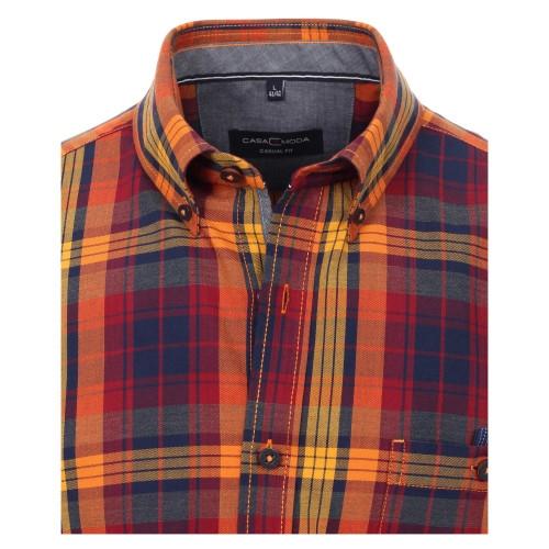 Casa Moda Kent overhemd Casual Fit, oranje ruit
