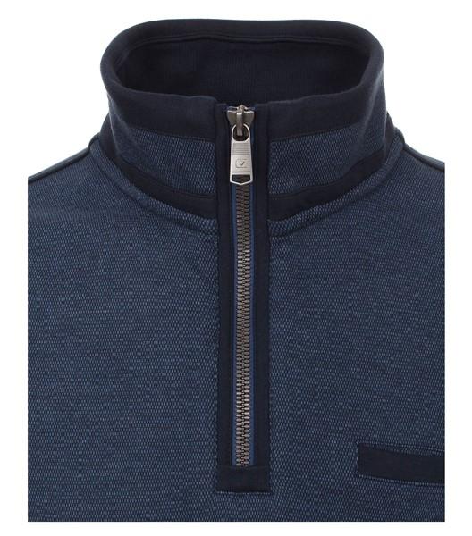 Casa Moda Sweatshirt m. rits en borstzakje, blauw