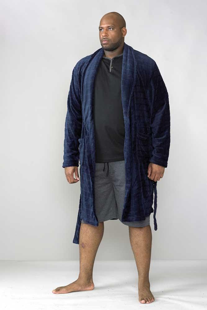 Comfortabele badjas, donker navy