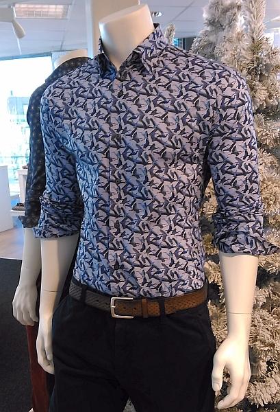 Culture overhemd LM MONTREAL, navy birds