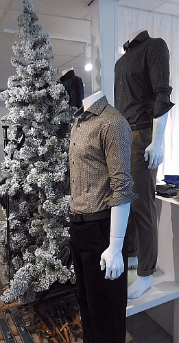 Culture overhemd regular fit NEW YORK, navy/bruin stip