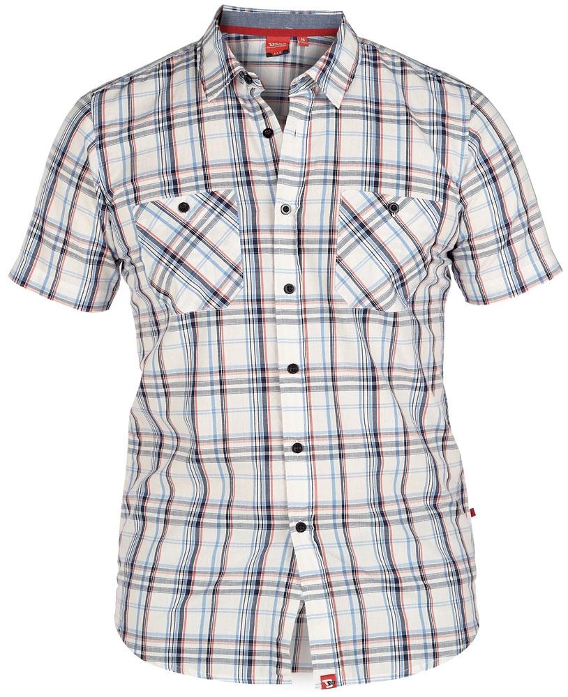 D555 overhemd AVANT met T-shirt (set), wit geruit-navy