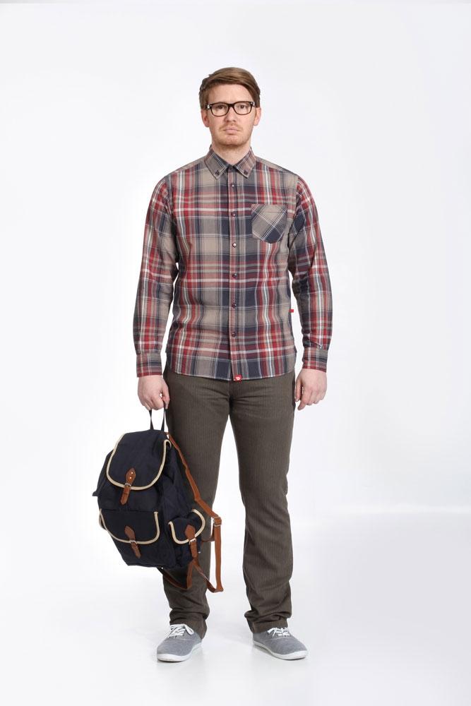 D555 overhemd PUNTO lange mouw, geblokt sand/bruin