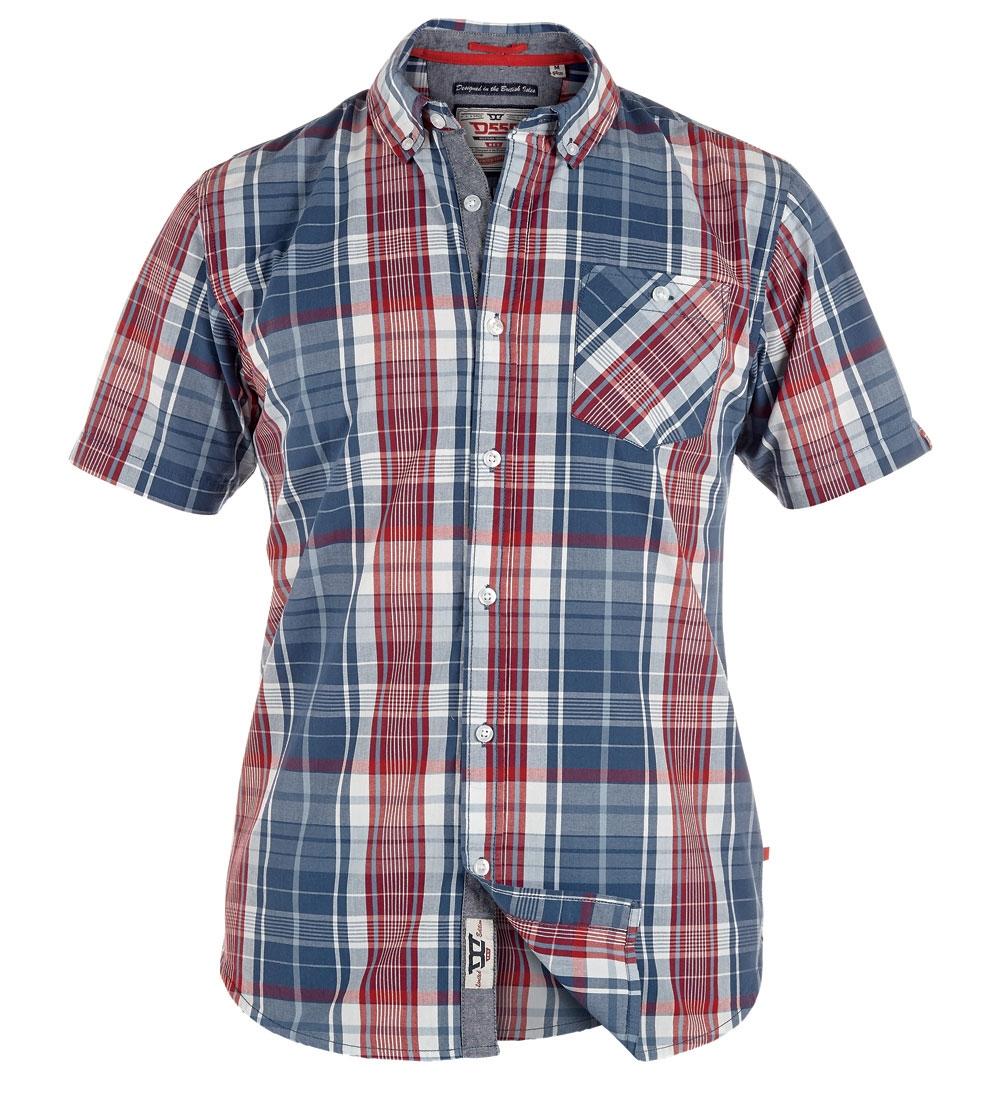 D555 overhemd VINCENT met T-shirt (set), navy-rood geruit