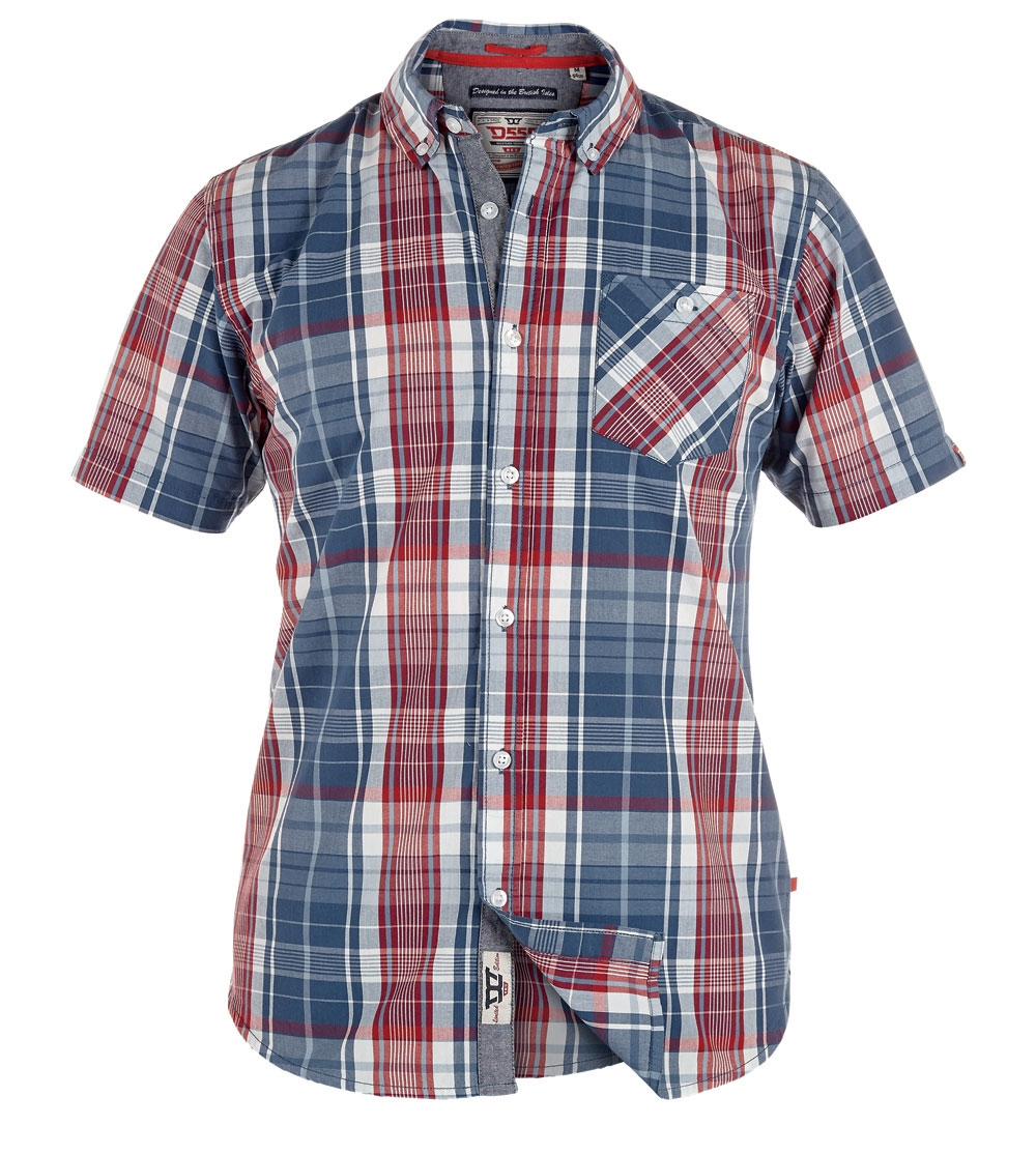D555 shirt VINCENT met T-shirt (set), navy-rood geruit
