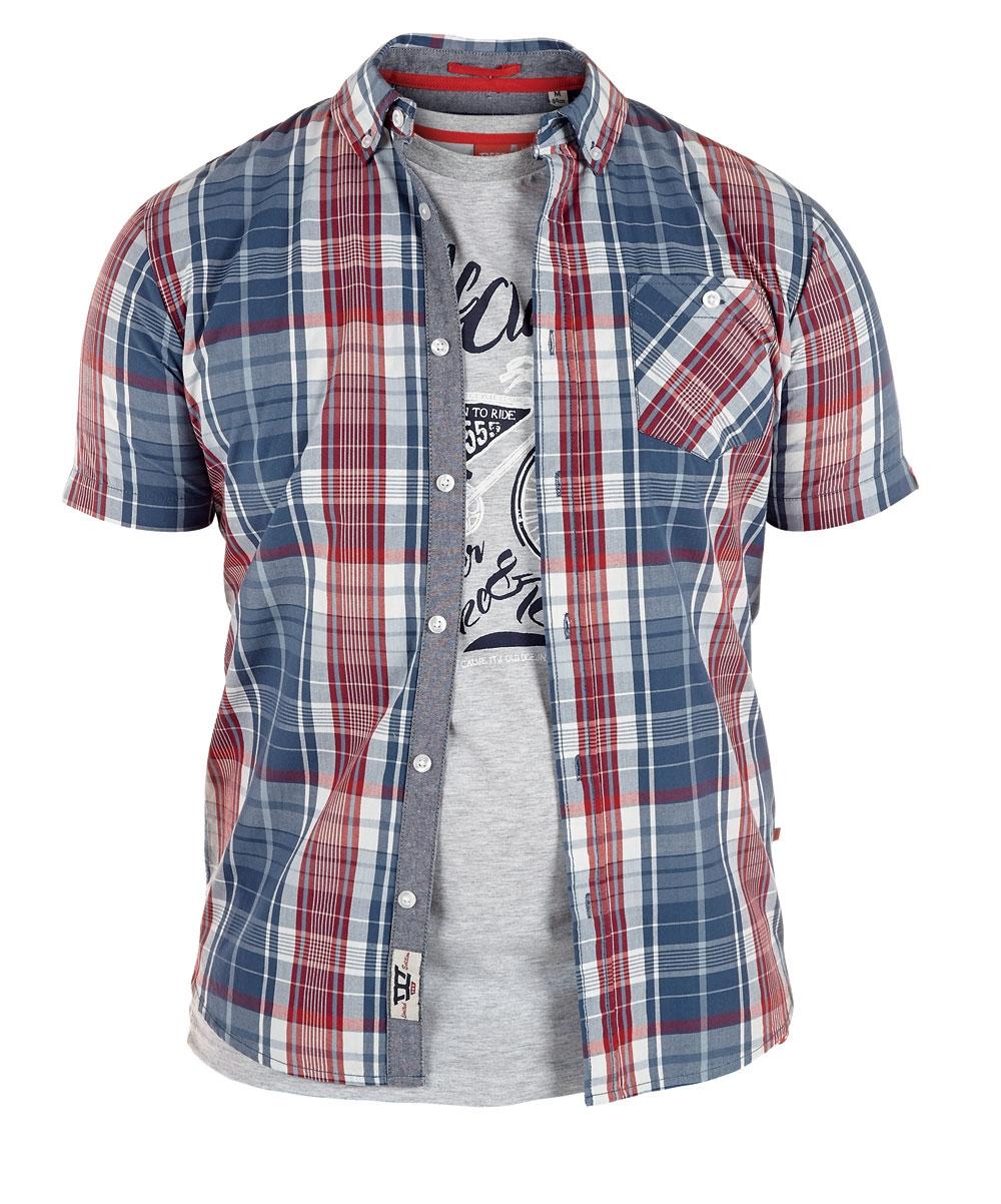 D555 shirt VINCENT met T-shirt (set), navy-rood geruit