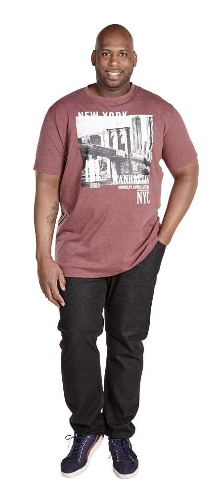 D555 T-shirt 'New York Manhattan', zwart melée