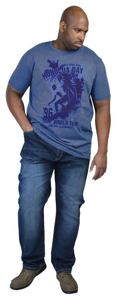 D555 T-shirt 'Surf World Tour Honolua Bay', blauw melée