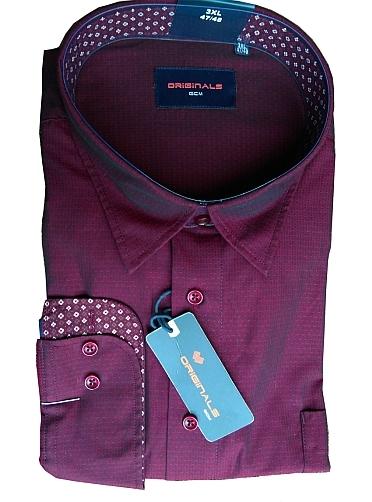 GCM Jacquard overhemd lange mouw, donker aubergine