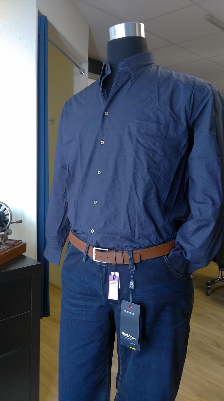 GCM Overhemd fijn printje lange mouw, navy