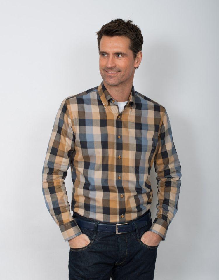GCM Overhemd geblokt lange mouw, blauw/oker geel