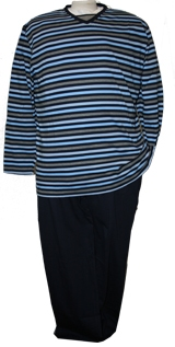 Jersey pyjama, navy striped
