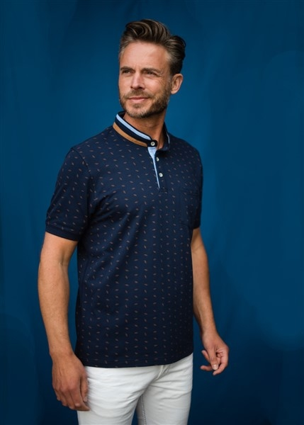 Meantime Polo m. print en china boord, navy