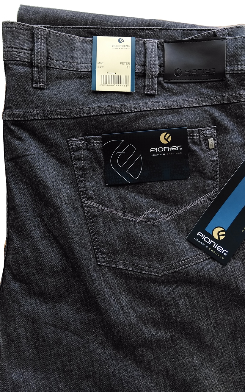 Pionier 5-pocket jeans Peter stretch m. hoge taille, dgrijs
