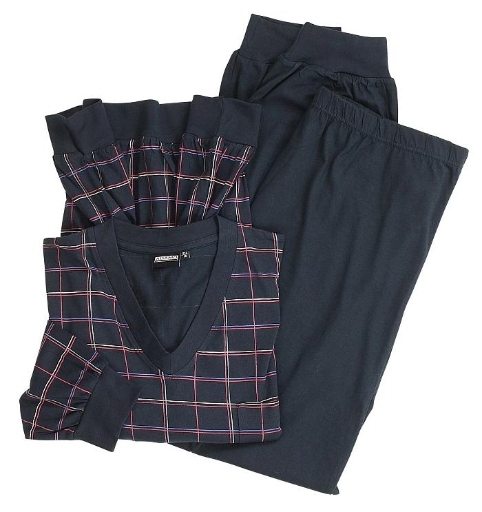 Pyjama m. lange broek en boordjes, navy Karo
