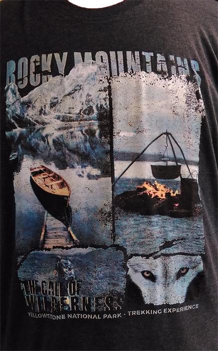 Redfield t-shirt lange mouw 'Rocky Mountains', d.grijs