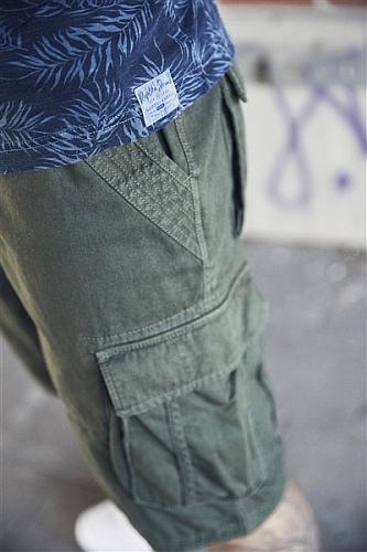 Replika cargo shorts, olijfgroen