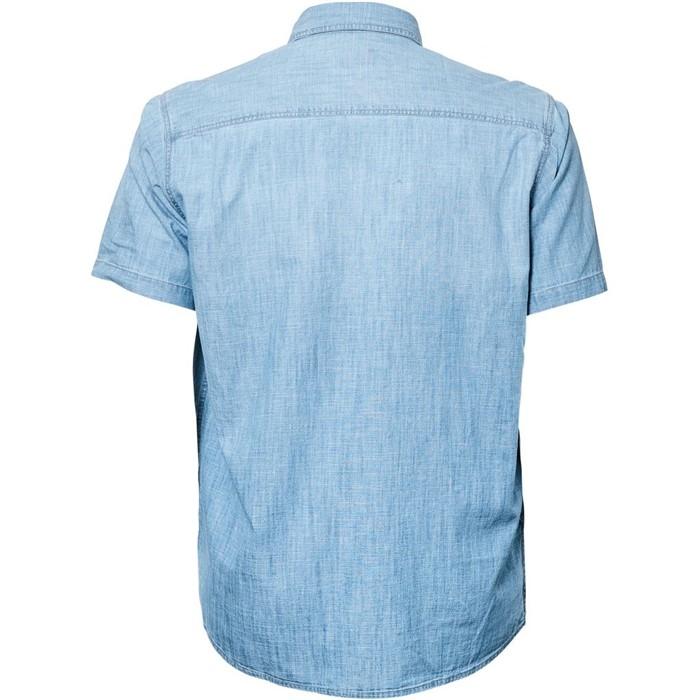 Replika chambray overhemd korte mouw, l.blauw
