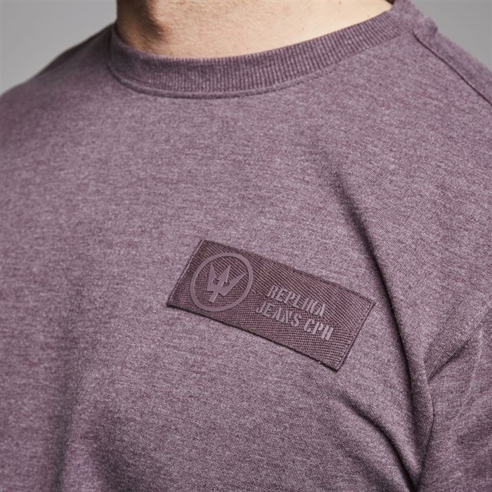 Replika crew-neck sweatshirt, aubergine