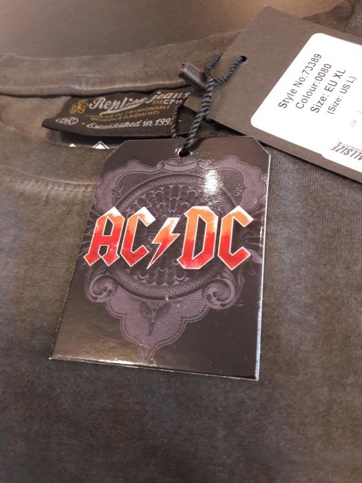 Replika printed t-shirt 'AC/DC', donkergrijs