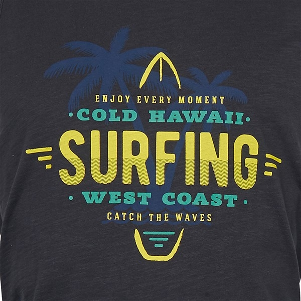 Replika tanktop Surfing print, zwart