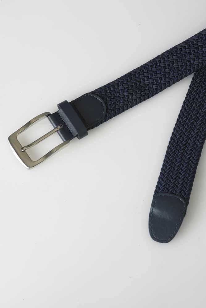 Stretch broekriem m. gevlochten elastiek, navy