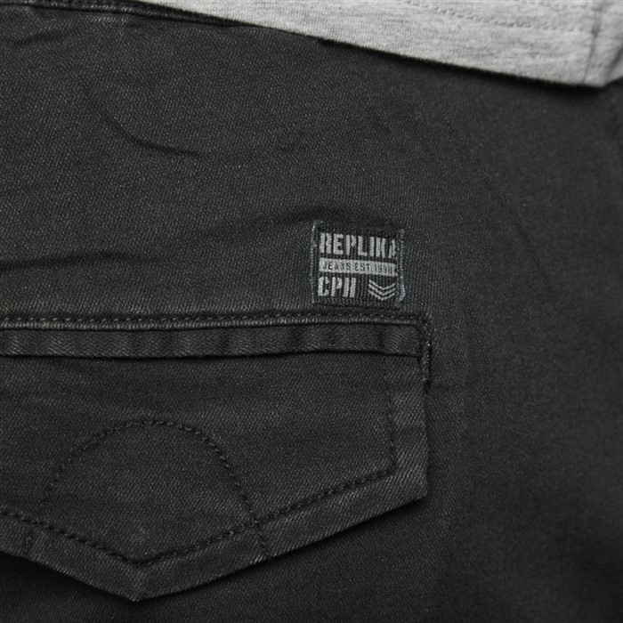Superstretch jeans w. elastic waist, black wash
