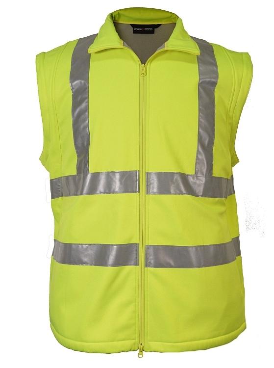 Veiligheids Softshell jas waterdicht, fluo geel