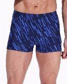 Zwembroek m. pijpjes Diagonale streep , navy-blauw